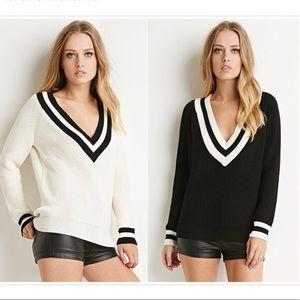 Forever 21+ Deep V Varsity Sweater